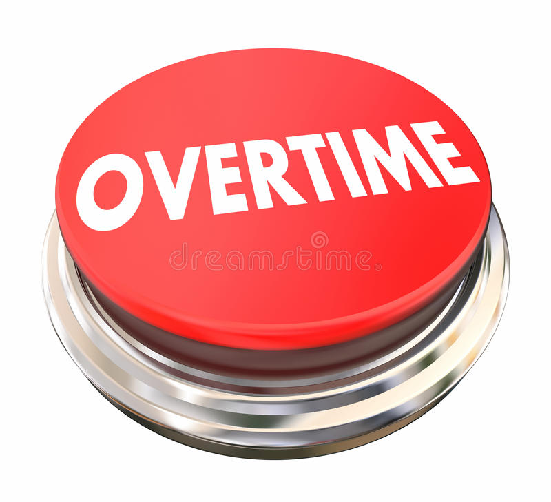 Overtime Extra Added Pay Red Button Light vector illustration
