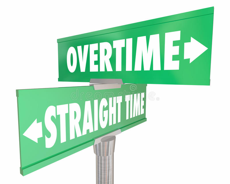 Overtime Vs Straight Time Working Wage Pay Signs vector illustration