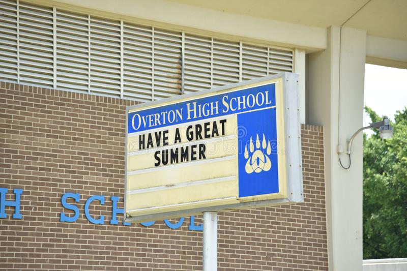 Overton High School, Memphis, TN. Overton High School Memphis, Tennessee Watkins Overton High School is a secondary school for the Creative and Performing Arts royalty free stock photo
