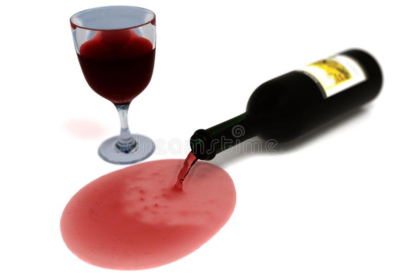 Overturned bottle of wine from which flows