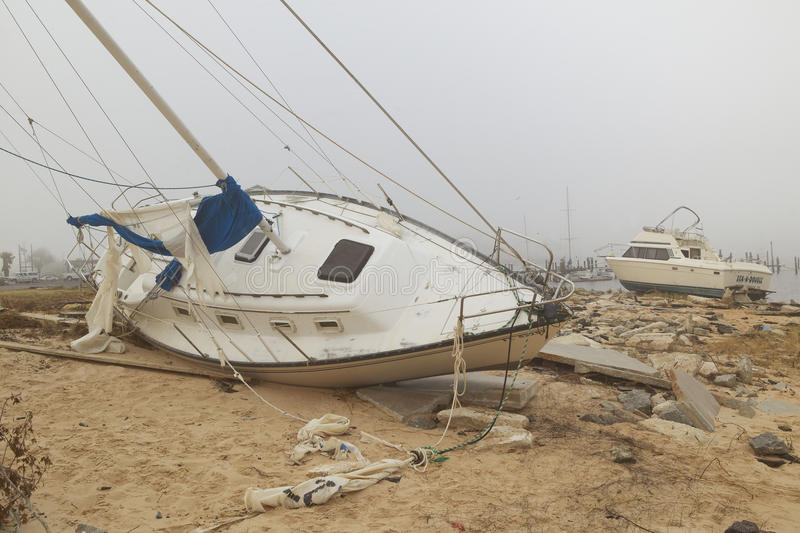 Overturned Sailboat In Wake Of Hurricane Ivan Editorial Photography