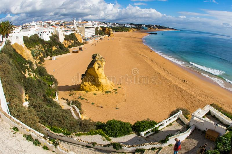 An overview of Albufeira beach royalty free stock photography