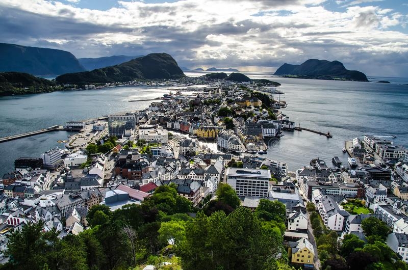 Overview of Alesund town from the Aksla viewpoint during the late evening before sunset.  stock photos