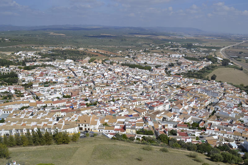 Overview of Almodóvar del Río Spain stock photography