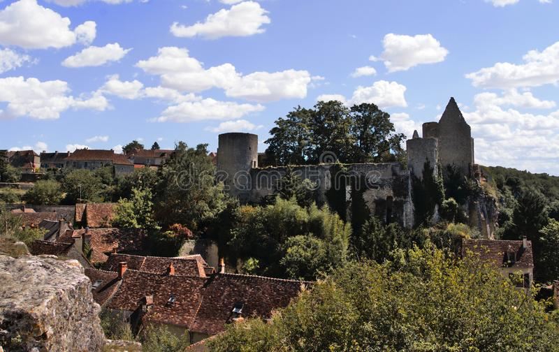 An overview of Angles-sur-l`Anglin, a picturesque village in france stock photos