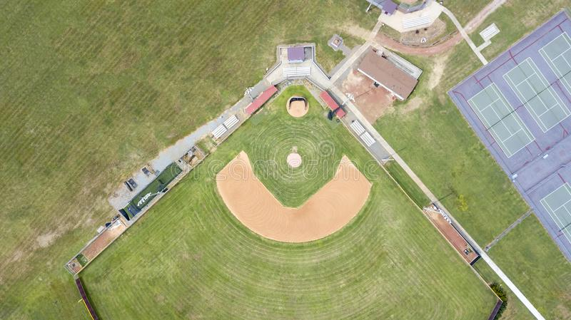 Overview Of A Baseball Diamond stock images
