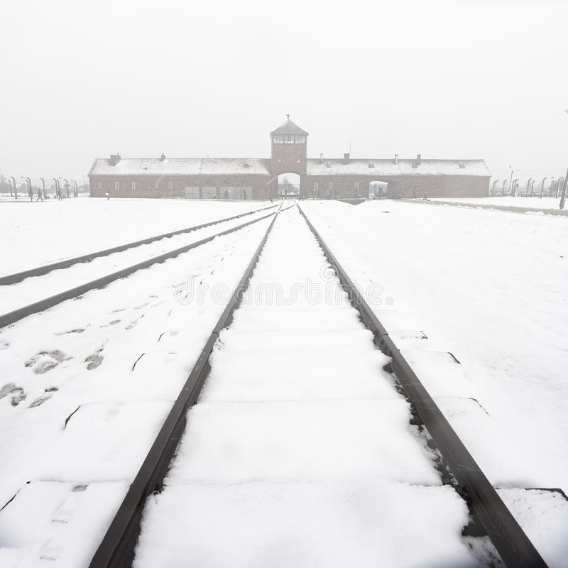 Overview of Birkenau concentration camp and rails in the fog and. Overview from the inside of the main building of the Birkenau camp in the fog and snow royalty free stock image