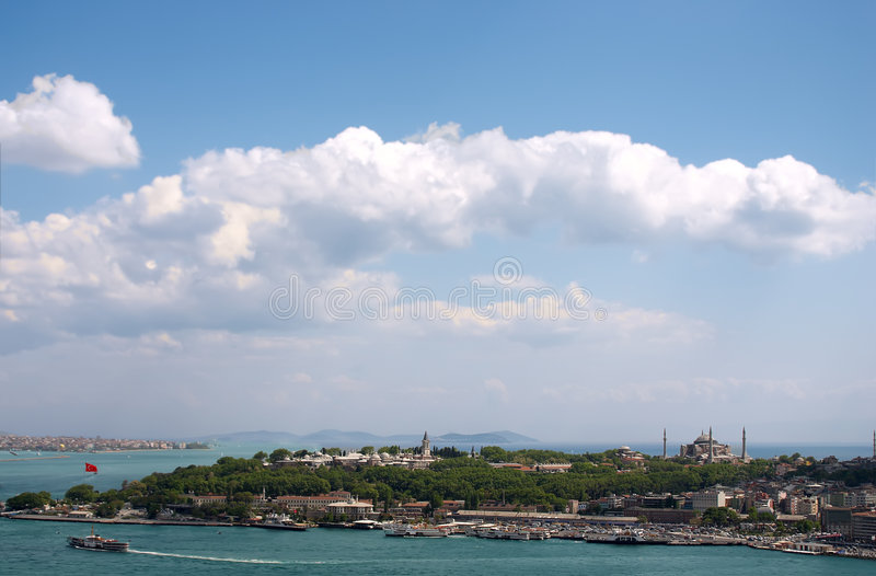 Overview of Bosphorous. View of Istambul from Galata tower over blue sky stock photos