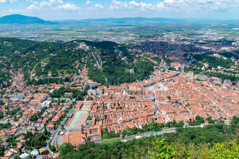 Overview of Brasov City viewed from Tampa Mountain stock photos