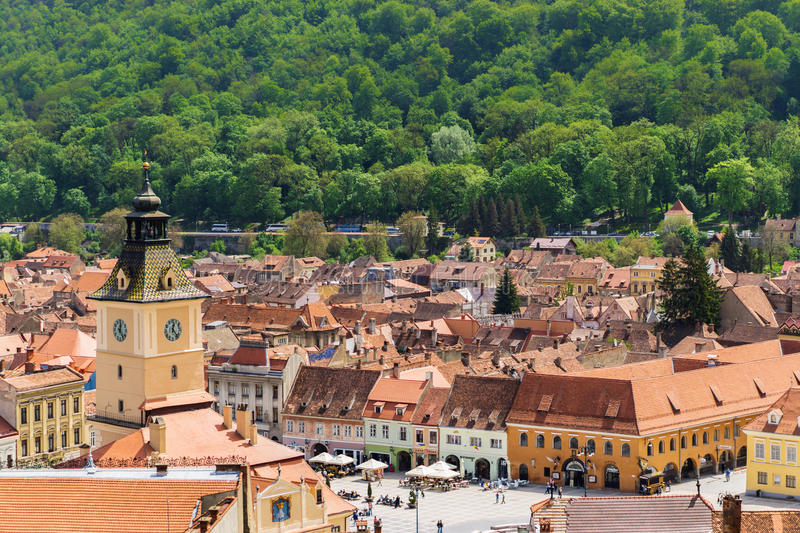 Overview of Brasov Old Center royalty free stock photo