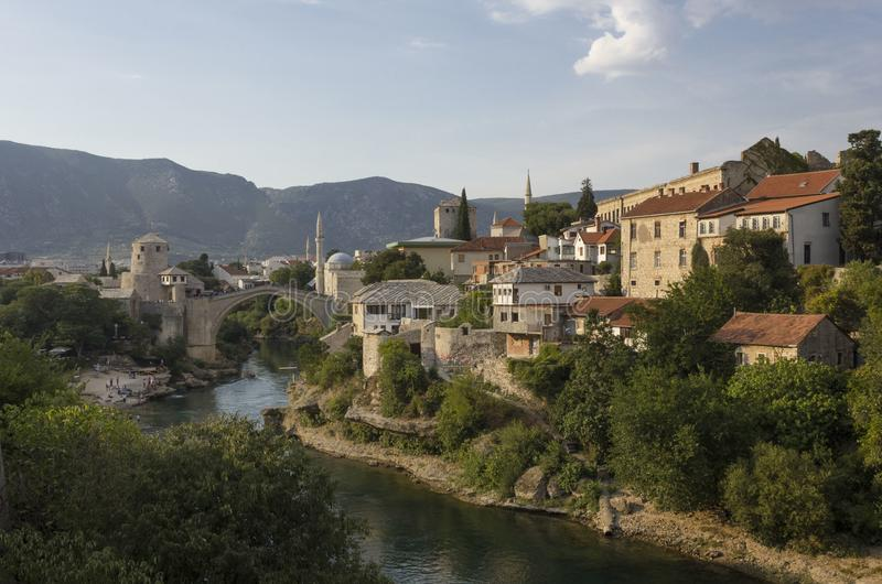 Overview of the city of Mostar and its famous bridge royalty free stock image