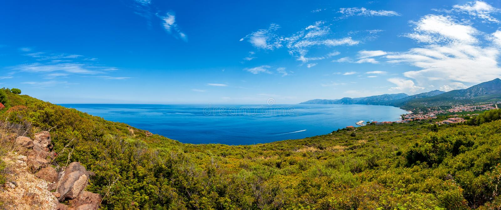 Overview of the coast of Cala Gonone, Sardinia stock photo
