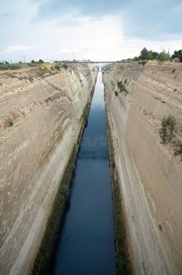 Overview of Corinth canal in Greece. Carved into the rock stock photo