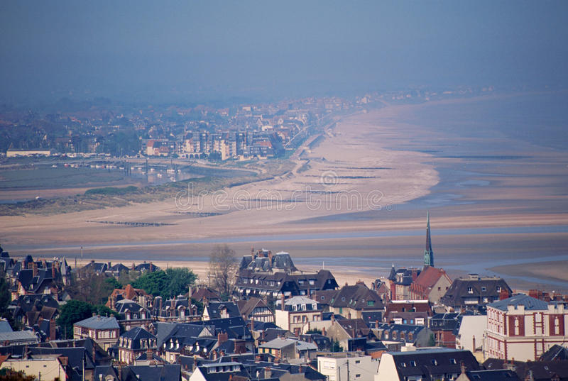 Overview of Deauville and Trouville. In Calvados with sea, beach and estuary in France stock images