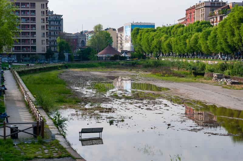 Overview of the dockyard in Milan before the 2015 renovation work. The renovation was carried out in view of the 2015 Expo. Milan, Italy - April 25 2013 royalty free stock photos