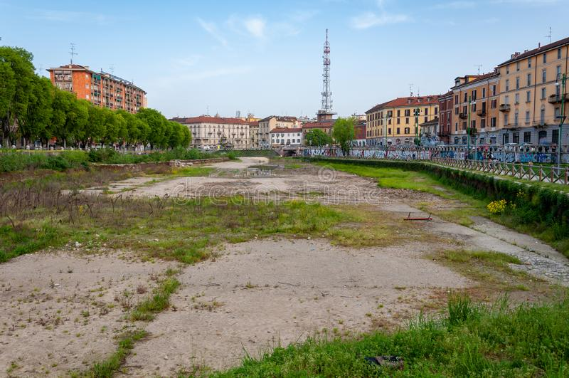 Overview of the dockyard in Milan before the 2015 renovation work. The renovation was carried out in view of the 2015 Expo. Milan, Italy - April 25 2013 stock images