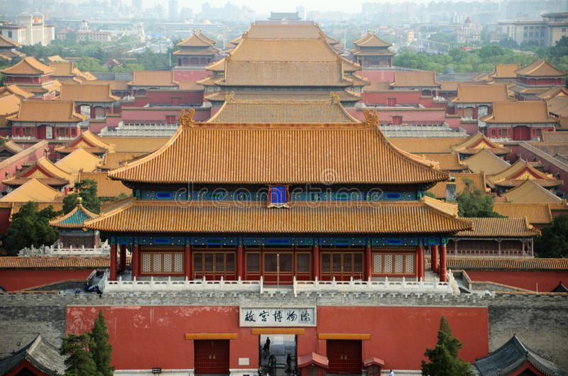 Overview of the forbidden city in Beijing, China stock photo