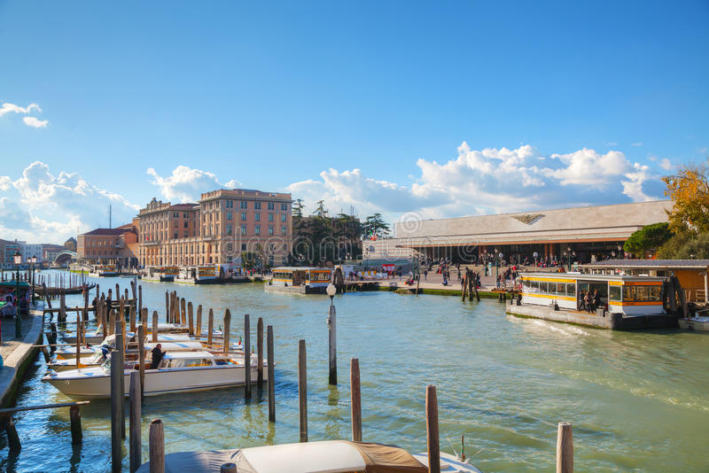 Overview of Grand Canal and train station in Venice stock image