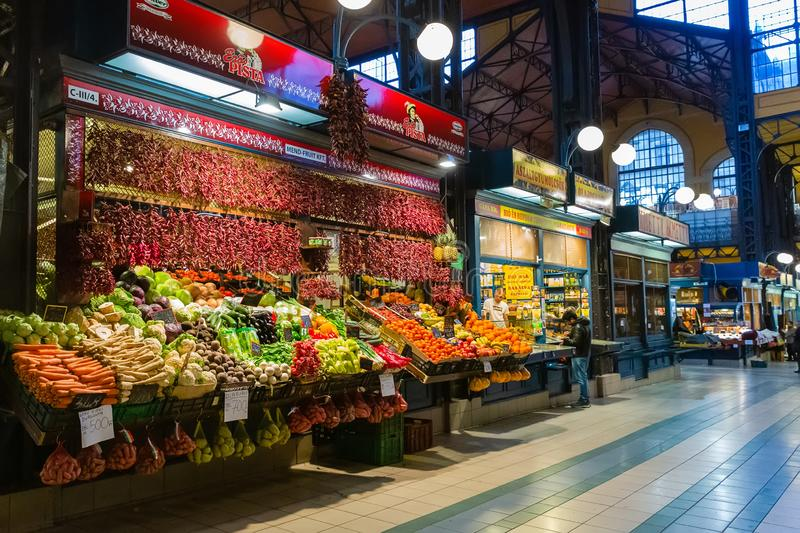 Overview of the Great Market Hall inside in Budapest royalty free stock images