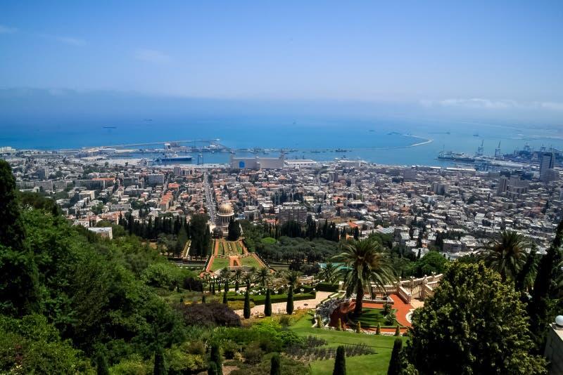 Overview of Haifa coast along Mediterranean Sea, where naval port and Bahai Gardens reside. Seen from Mount Carmel stock photo