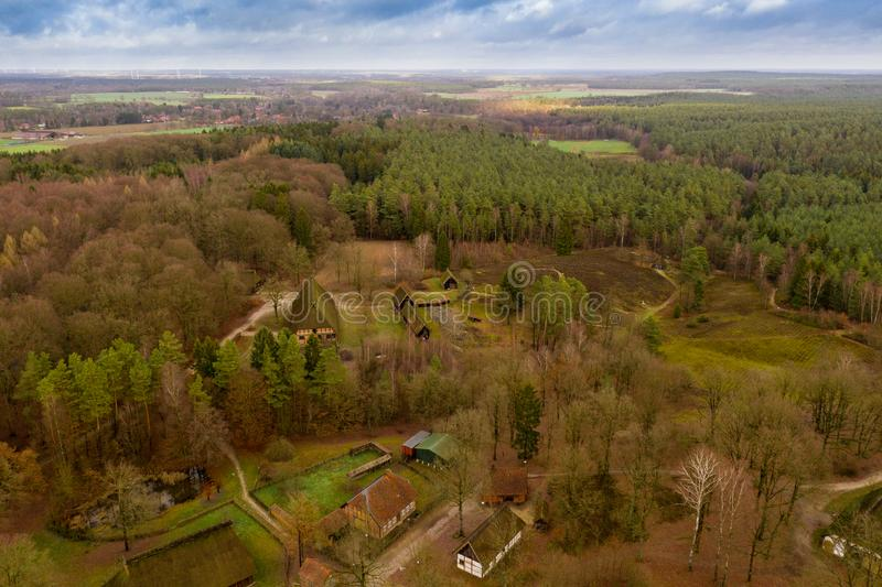 Overview from a height of 80 metres over the Hösseringen open-air museum in the Lünebürger Heide near Suderburg. Overview from a height of 80 metres royalty free stock images