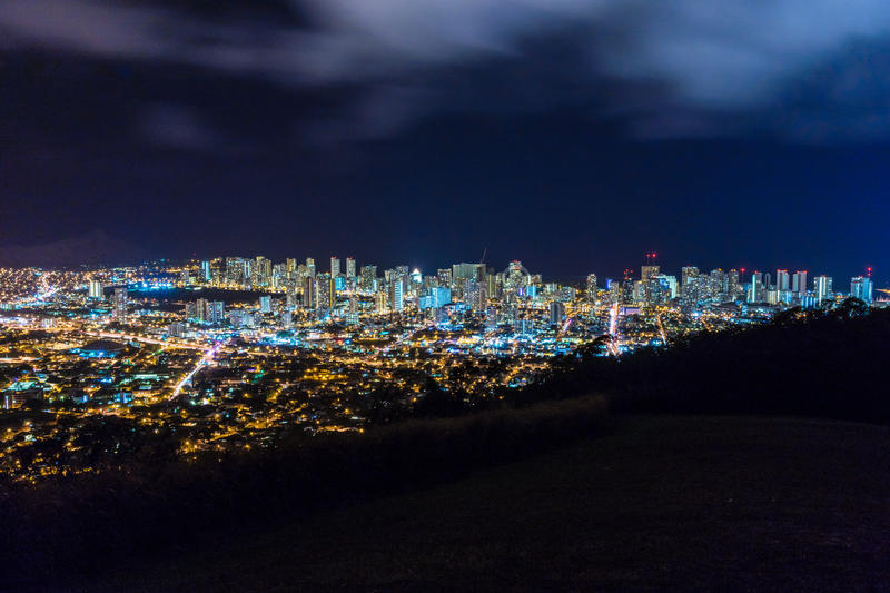 Overview of Honolulu at Night stock images