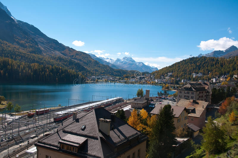 Overview of Lake St. Moritz, stock photography
