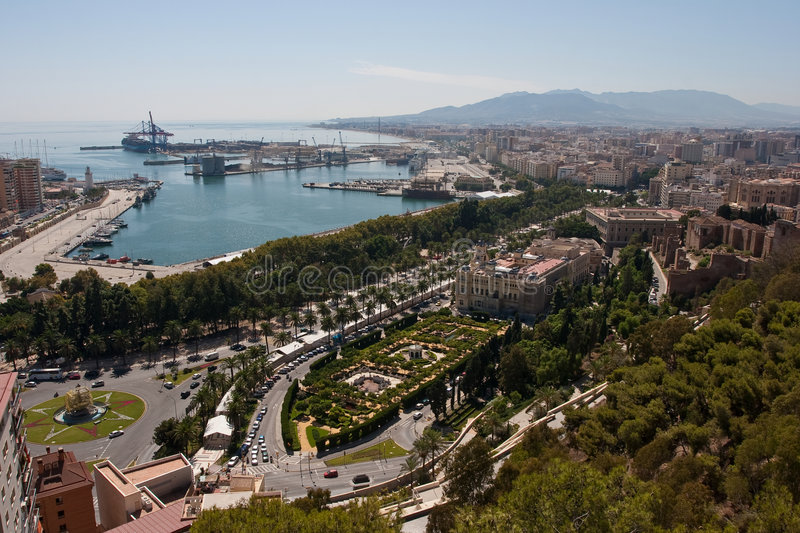 Overview of Malaga stock photo