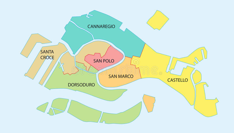 Overview map of the six historical districts of Venice, Italy.  stock illustration