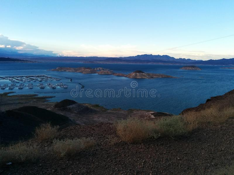 Overview of marina and islands at Lake Mead royalty free stock photography