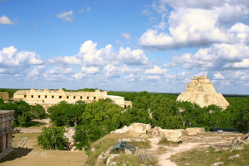 Overview of mayan site. Maya ruins Uxmal in mexican Yucatan with green forest stock photos