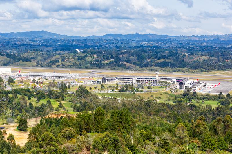 Overview Medellin Rionegro Airport MDE. Medellin, Colombia – January 25, 2019: Overview of Medellin Rionegro airport MDE in Colombia royalty free stock photography