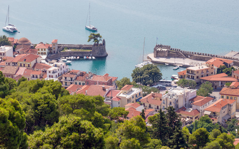 Overview of Nafpaktos harbor, Greece. Nafpaktos is a town and a former municipality in Aetolia-Acarnania, Greece stock photography