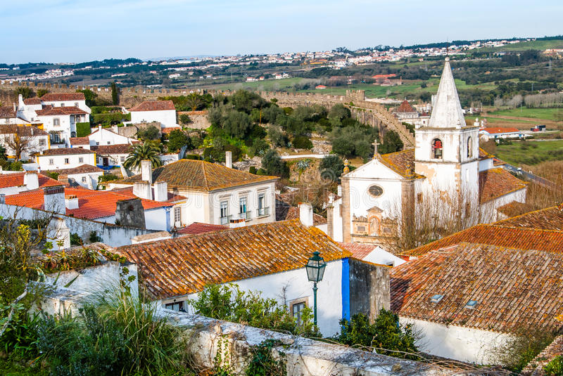 Overview of Obidos - Portugal stock images