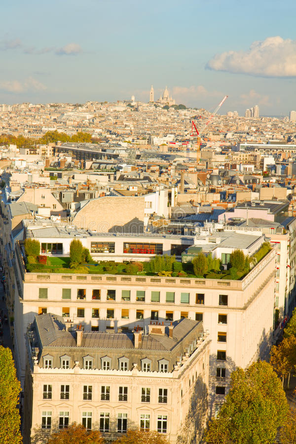 Overview of Paris with Mont Matre stock photos