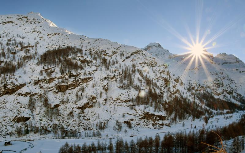 Gran Paradiso. Overview of the peaks of the Gran Paradiso, seen from the Valsavaranche royalty free stock photography