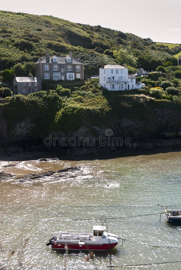 Overview of the port of Port Isaac in Coernovaglia royalty free stock photos