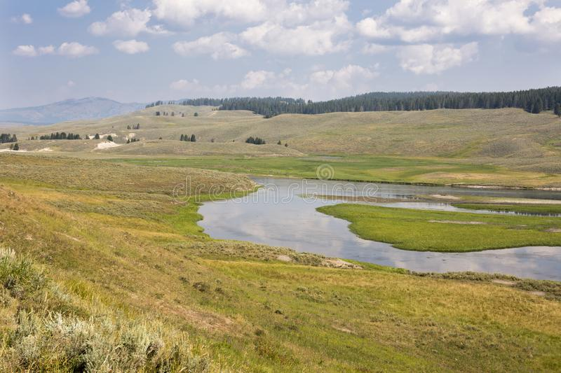 Overview prairie and rivers in Yellowstone National Park stock photography