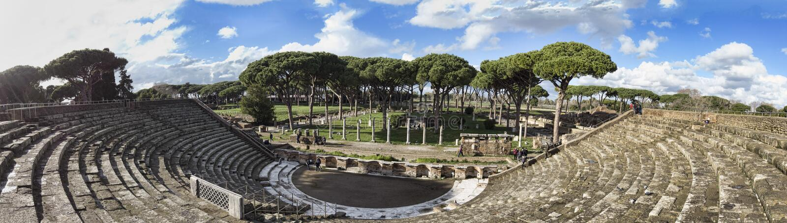 Overview of the Roman theater of Ostia Antica located in the homonymous archaeological excavations - Rome , Italy. Ostia Antica Rome, Italy -February 03, 2019 royalty free stock image