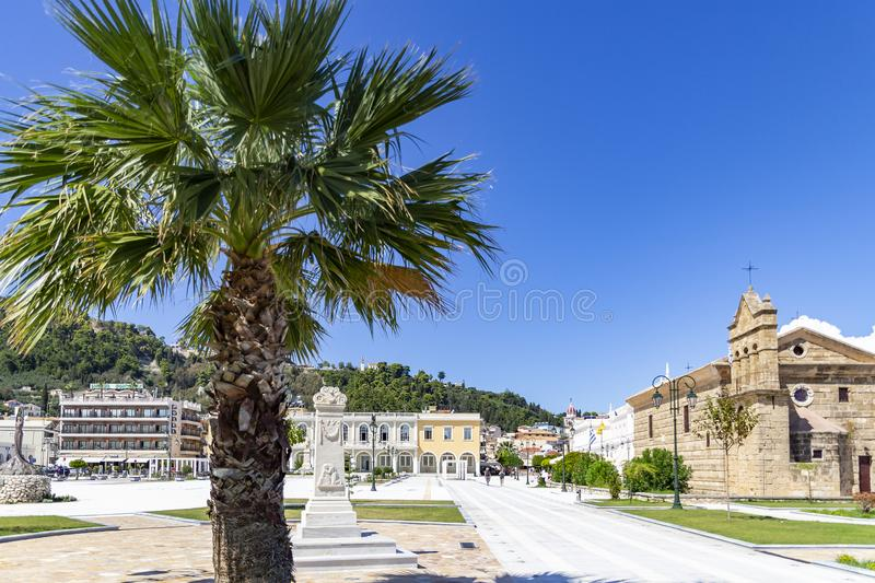 Overview of a sunny Solomos Square in Zakynthos town, Greece stock image
