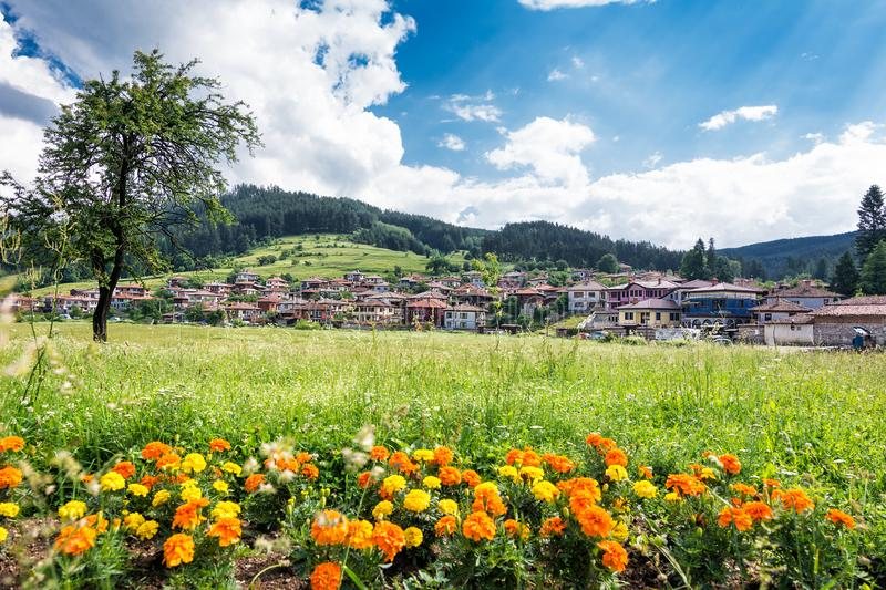 Overview of the tourist village of koprivshtitsa Bulgaria royalty free stock images