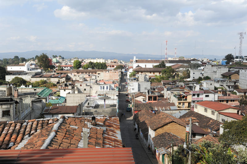 Overview at the town of Chichicastenango. On Guatemala stock image