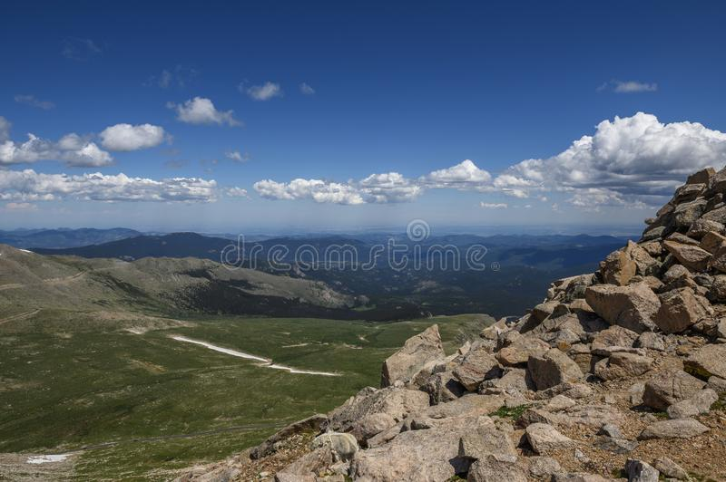 Overview of the valley from Mount Evans royalty free stock photo