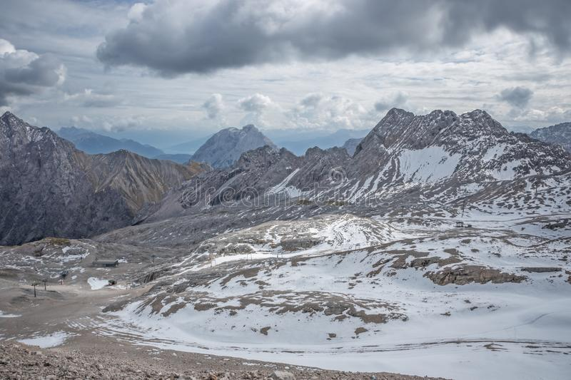 Overview of the Zugspitzplatt and its ski facilities. Seen from the mountain station of the cogwheel train royalty free stock photography