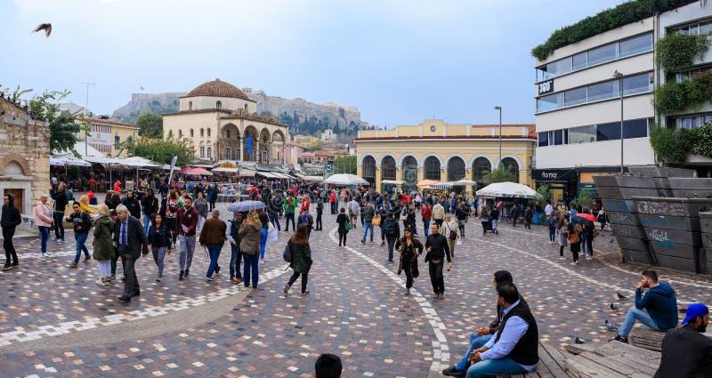 Overvol Monastiraki-vierkant in Athene royalty-vrije stock afbeeldingen