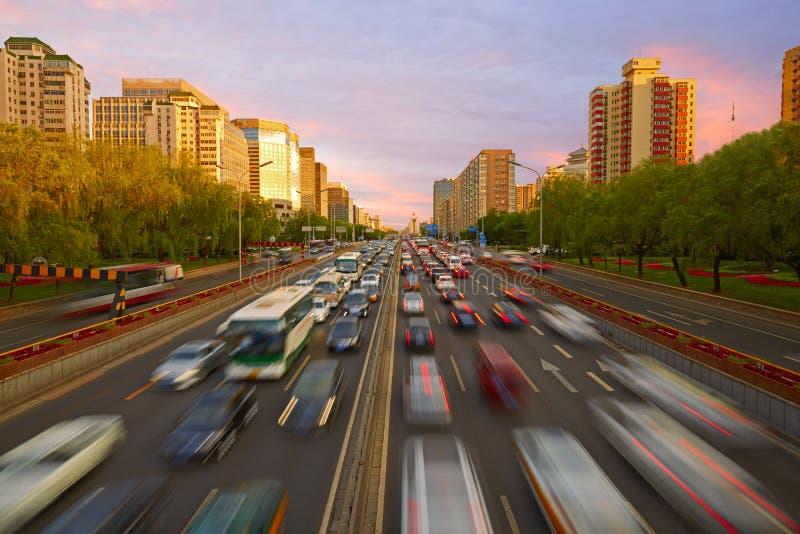 Overvol verkeer, Peking stock afbeeldingen