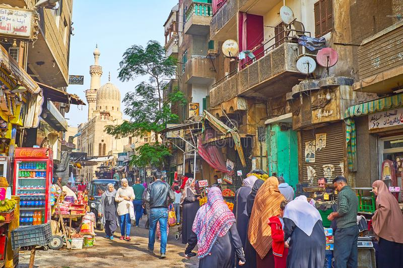 Overvolle Al Khayama-straat, Kaïro, Egypte stock foto's
