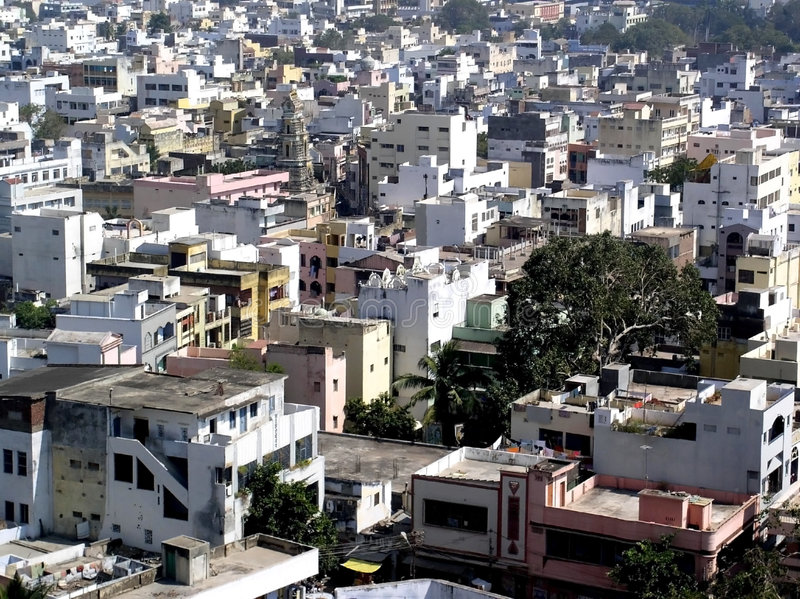 Overvolle Indische Stad stock foto