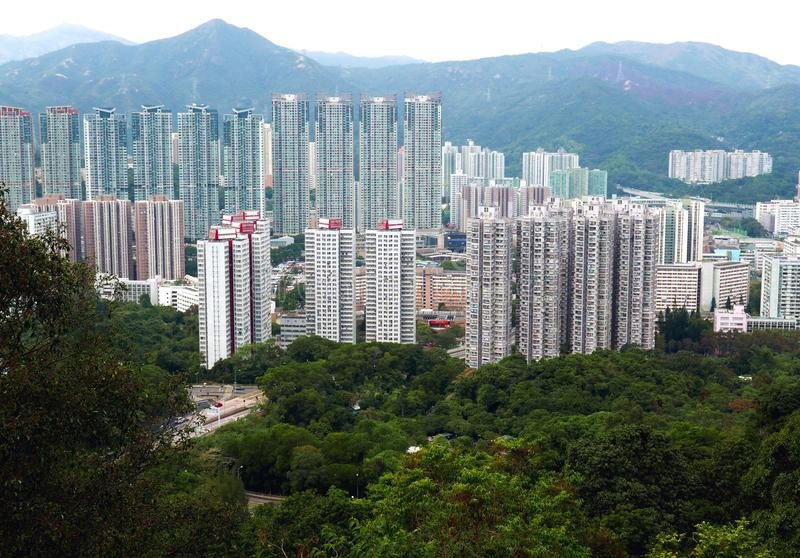 Overvolle Woningbouw in Hong Kong China stock foto's