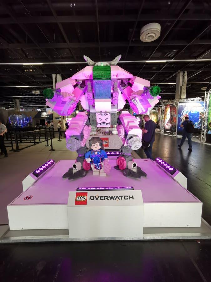 Overwatch Lego, D.Va, Mech at Gamescom 2019 stock photo